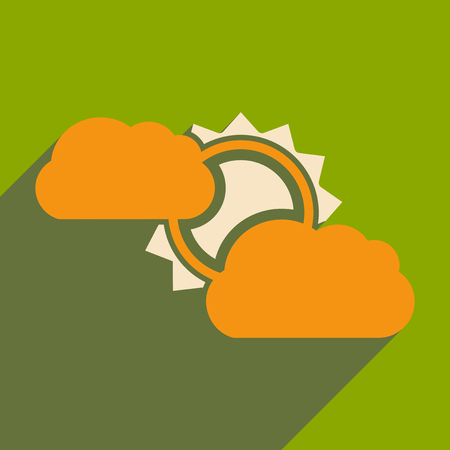 Flat with shadow icon and mobile application sun clouds.