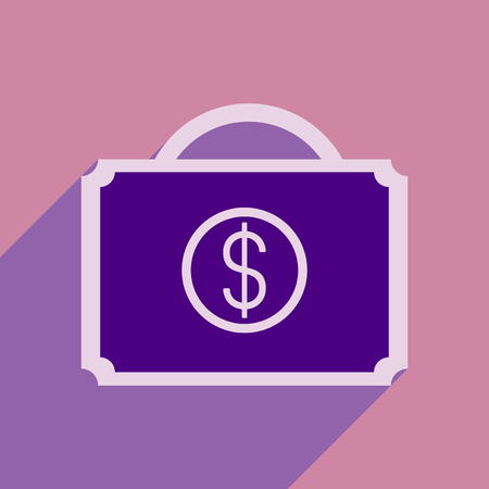 money packs: Flat style icon with long shadow money case