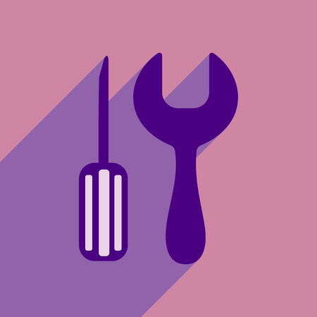 Screwdriver and wrench tool icon.