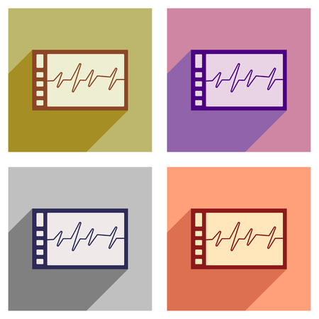Set of flat icons with long shadow cardiogram