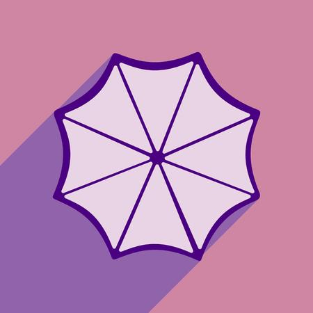 rainy season: Flat style icon with long shadow umbrella