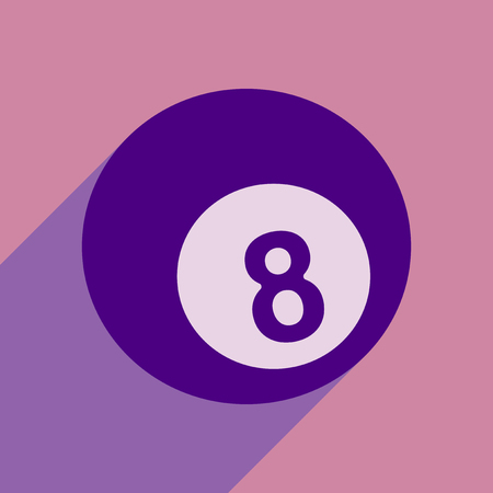 Flat style icon with long shadow billiard ball