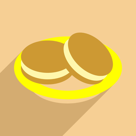 Flat with shadow icon and mobile application ice Cream Sandwich