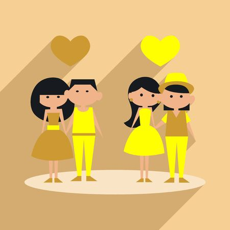 dinner date: Romantic date flat with shadow illustration.