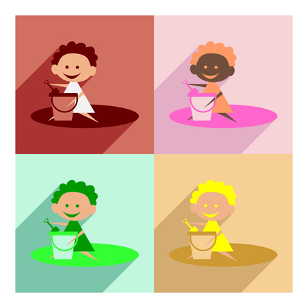 Flat with shadow concept and mobile application girl sandbox Illustration