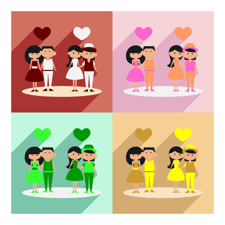 dinner date: Flat with shadow concept and mobile application romantic date Illustration