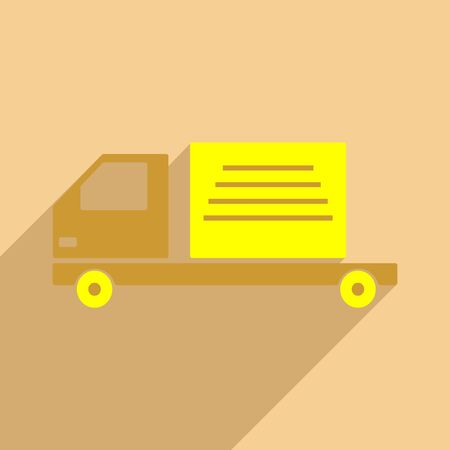Flat with shadow icon and mobile application delivery truck Illustration