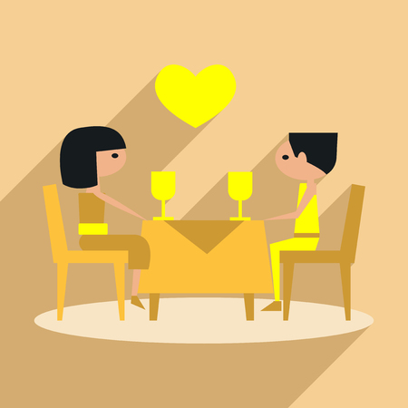 pareja comiendo: Flat with shadow icon and mobile application romantic dinner