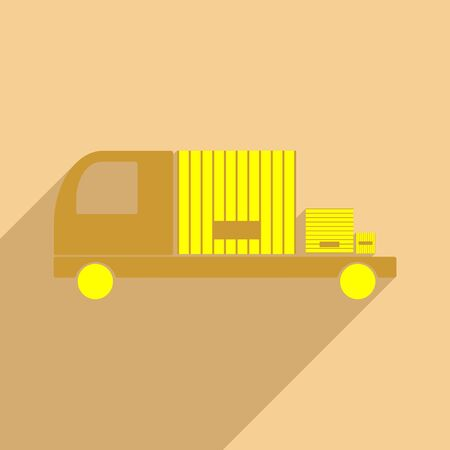 industry trends: Flat with shadow icon and mobile application car cargo logistics Illustration