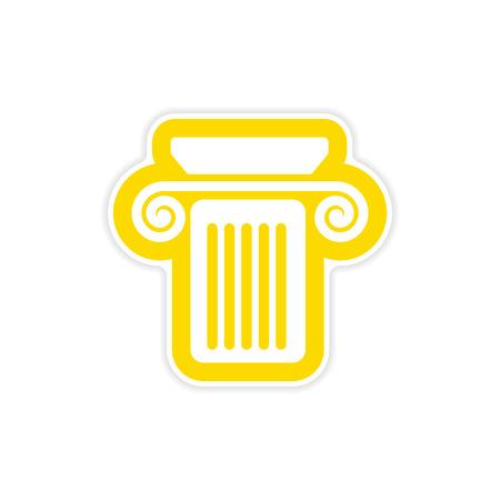 paper sticker on white background Greek column