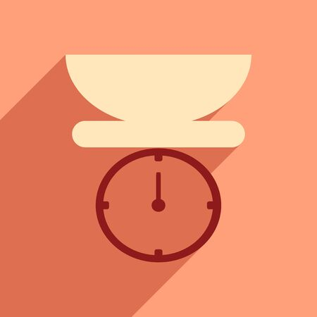weigh machine: Flat icon with long shadow kitchen scales Illustration