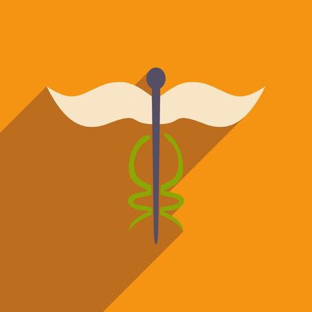 Icono plano con icono de sombra y logotipo de farmacia de aplicación móvil