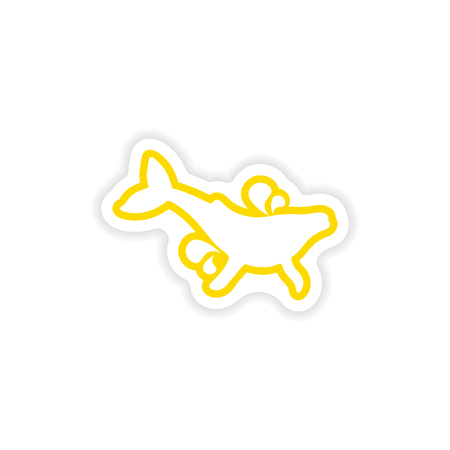 paper sticker on white background whale with fountain