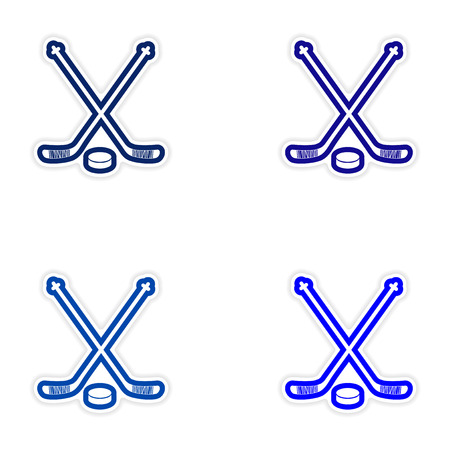 Set of stickers hockey sticks and puck on white background Illustration