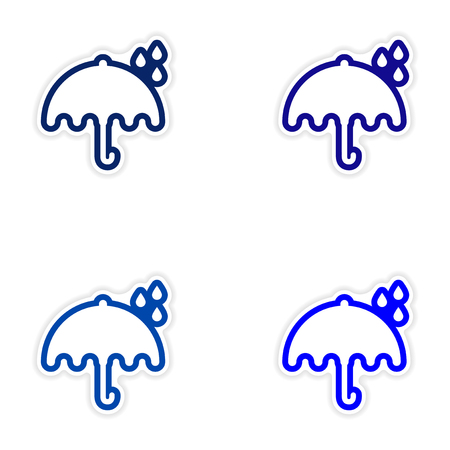 Set of stickers British umbrella on white background
