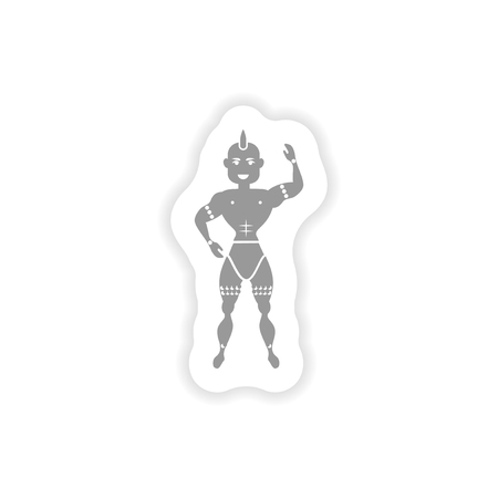 warriors: stylish paper sticker on white background carnival man