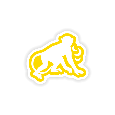 paper sticker on white background monkey with bananas Illustration