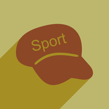 athletic wear: Flat icon with long shadow sports cap