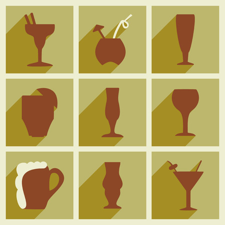champagne celebration: Set of flat icons with long shadow cocktail glass Illustration