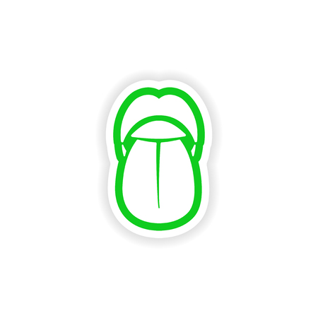 incisor: paper sticker on white background mouth and tongue