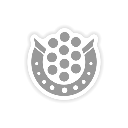stylish paper sticker on white background horseshoe coins