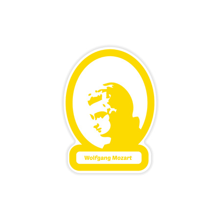 Color yellow paper sticker of Wolfgang Mozart on white background.