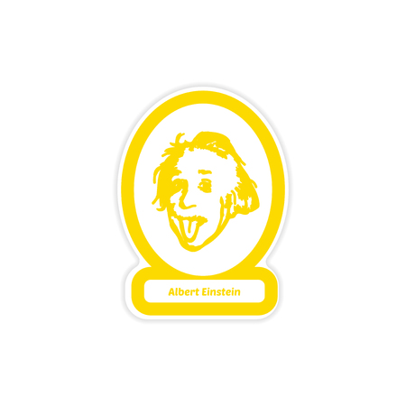 Paper sticker of Albert Einstein on white background.