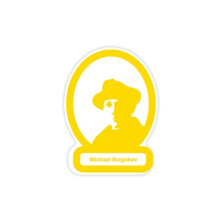 Paper sticker of Michael Bulgakov on white background.