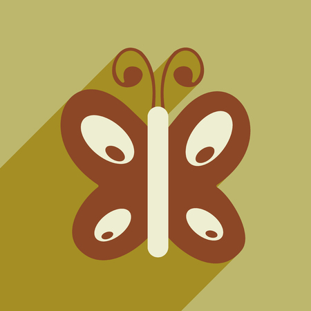 Flat icon with long shadow insect butterfly