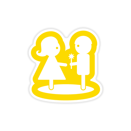 Paper sticker of a boy giving flower to a girl on white background.