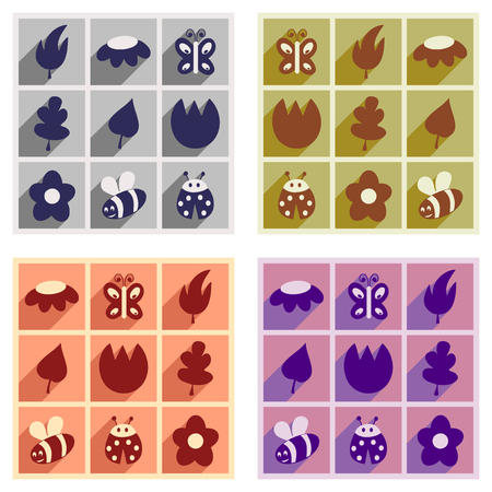 chromatic: Set of flat icons with long shadow of Spring themed illustrations on different chromatic color.