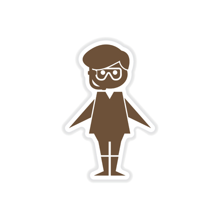 paper sticker on white background boy in diving mask