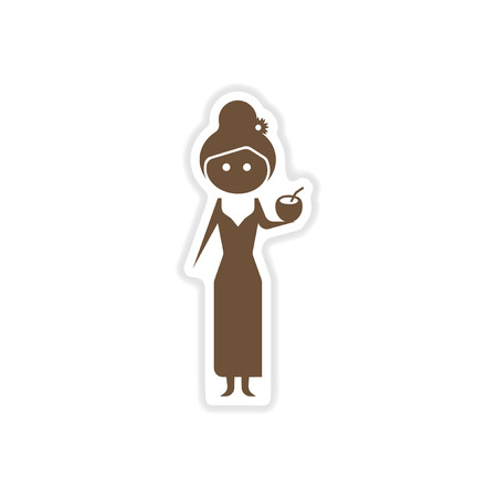 paper sticker on white background girl with cocktail