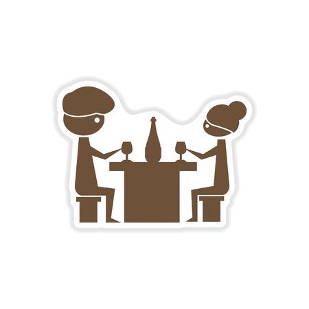 pareja comiendo: paper sticker on white background couple romantic dinner