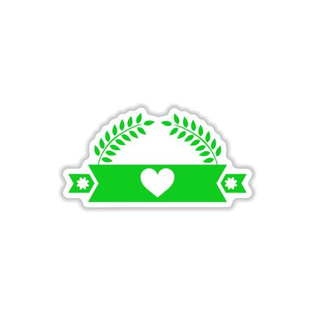 paper sticker on white background ribbon heart leaves Illustration