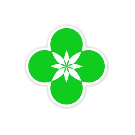 Paper sticker on white background flower silhouette
