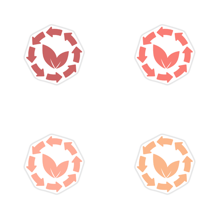 original ecological: Set of paper stickers on white background arrow leaves