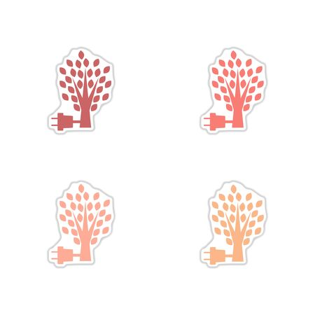 Set of paper stickers on white background eco energy
