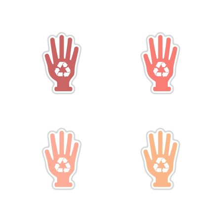 Set of paper stickers on white background arrows recycling Vectores