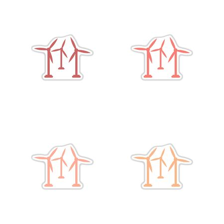 Set of paper stickers on white background wind mill