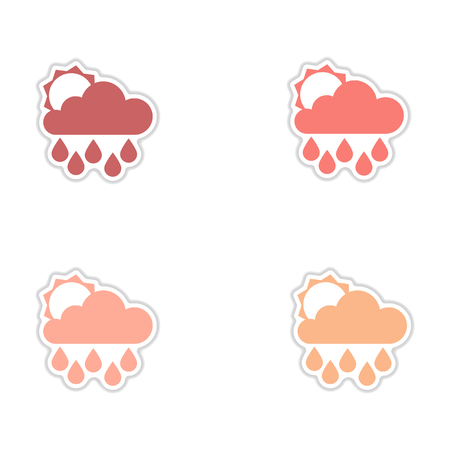 Set of paper stickers on white background sun clouds rain