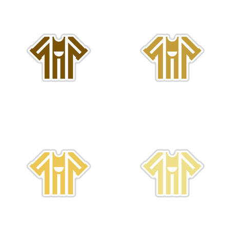 Set of paper stickers on white background Football T-shirt