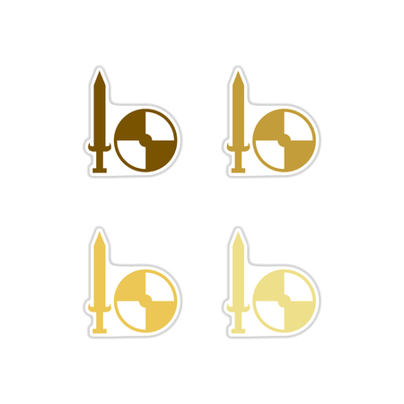Set of paper stickers on white background shield and sword