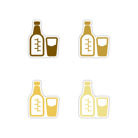 Set of paper stickers on white background glass bottle