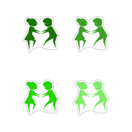 Set of pair of dancers paper stickers Illustration