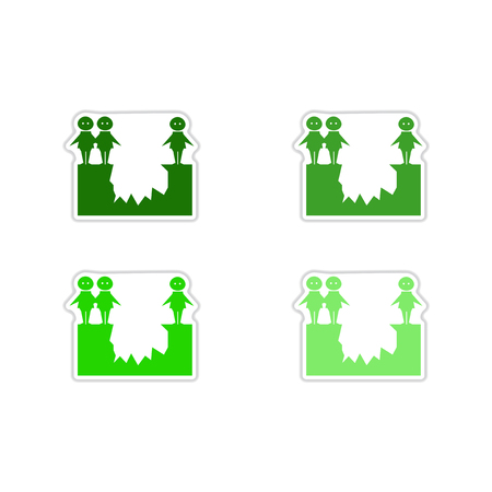 Set of people abyss paper stickers Иллюстрация