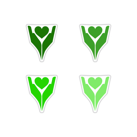 passion  ecology: Set of paper stickers on white pattern.