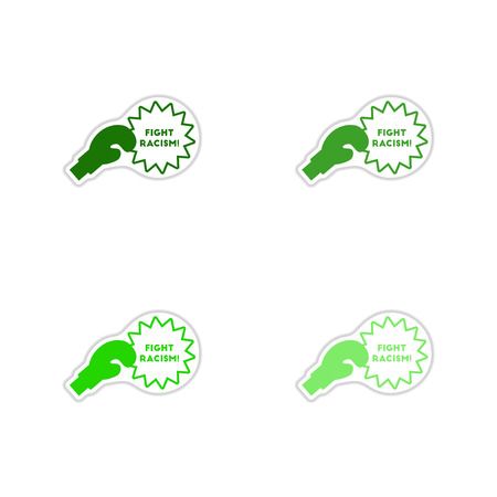Set of paper stickers on white background  racism