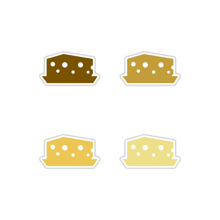 Set of paper stickers on white background  Dutch cheese Иллюстрация