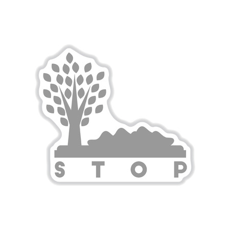 paper sticker on white background stop environmental pollution